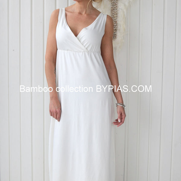 Bamboo Sleeveless Maxidress - White - The Nest Shop