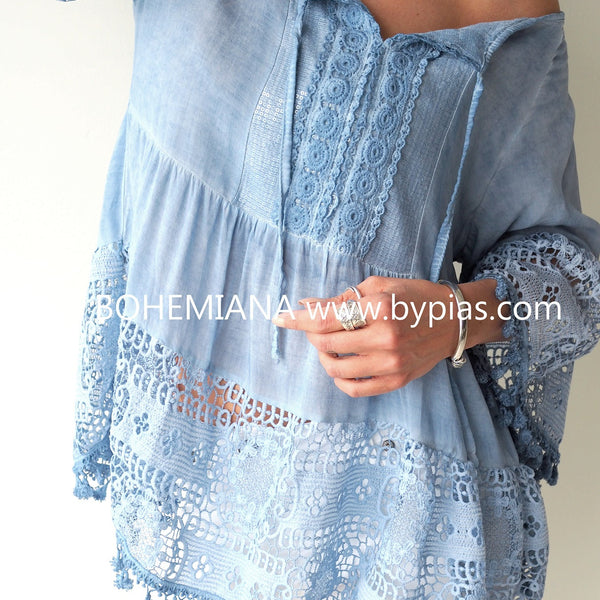 Byron Beach Blouse - Blue - The Nest Shop