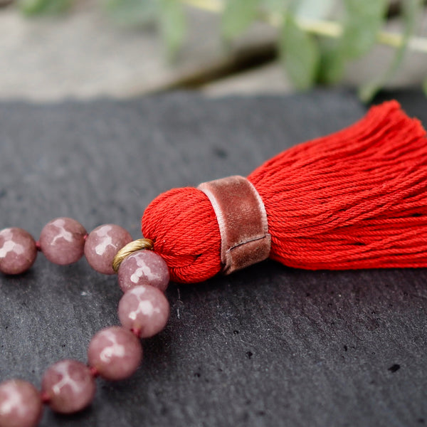 Nectar - Bead Heaven w/tassel medium - Bordeaux with red - The Nest Shop