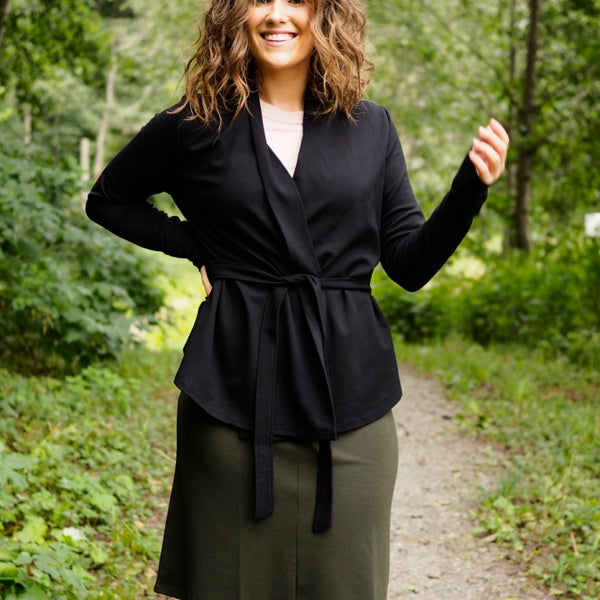 Katrin Uri - The Line Wrap Cardigan - Black - The Nest Shop