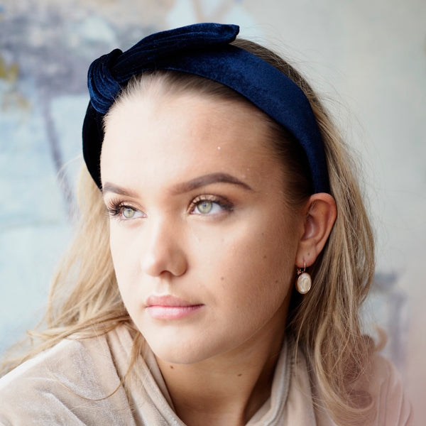 Nectar - Velvet Headband - Midnight Blue - The Nest Shop