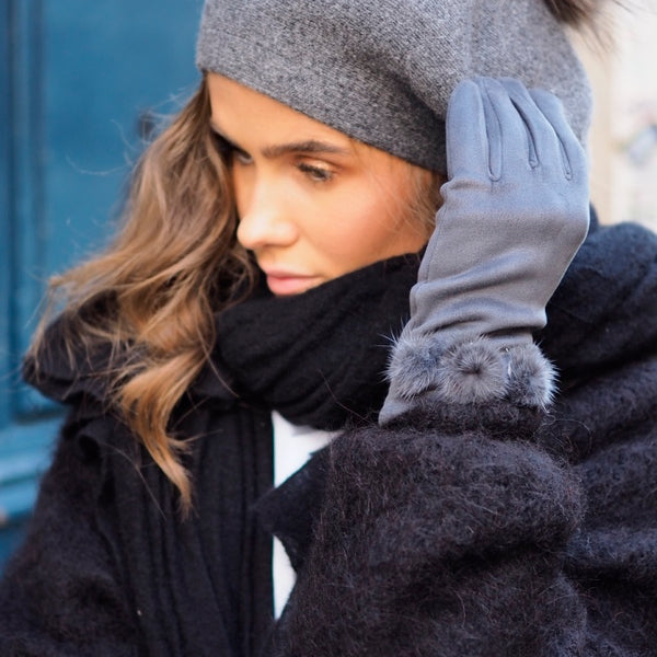 Nectar - French Faux fur Beret - Grey - The Nest Shop