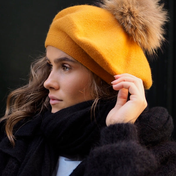 Nectar - French Faux fur Beret - Mustard - The Nest Shop