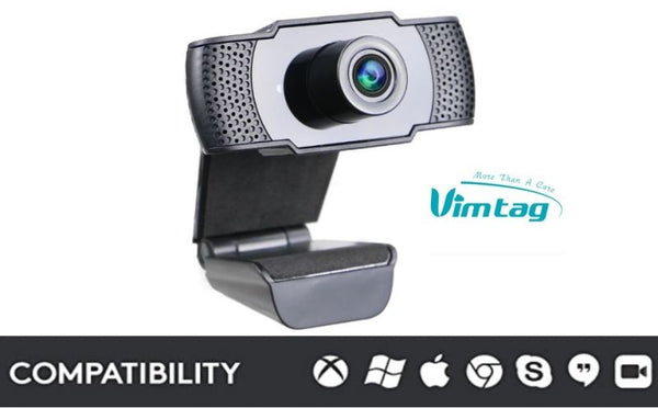 Vimtag HD Webcam 1080P 2MP with built-in microphone, USB Plug and Play, No installation needed, Support Windows & Mac