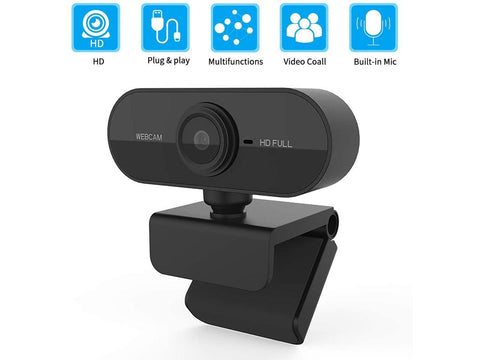 HD Webcam 1080P 2MP with built-in microphone, USB Plug and Play, No driver needed, Support Windows, Mac, Linux and More