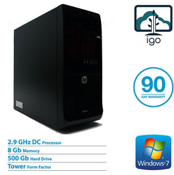 HP Pro 3400 MT: Dual Core 2.9G / 8G DDR3 RAM / 500G Hard Drive / DVDROM / Windows 7 Professional