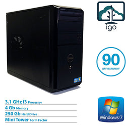 DELL Vostro 260 MT Mini Tower (Intel Core i3 3.1G/4G DDR3 RAM/250G HDD/Win7 Pro)