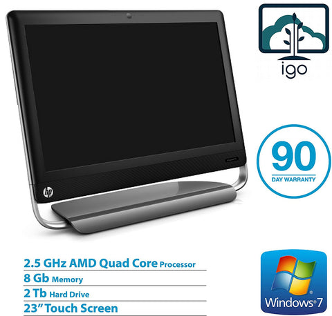 "HP TouchSmart 520-1155 23"" Touch Screen All-In-One PC(AMD Quad Core 2.5 GHz/8GDDR3/2T/Win10 Home)"