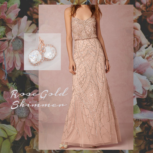 Inspiration Board: Rose Gold Shimmer with BHLDN Tobin dress