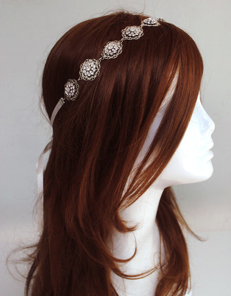 Boho glam wedding headpiece