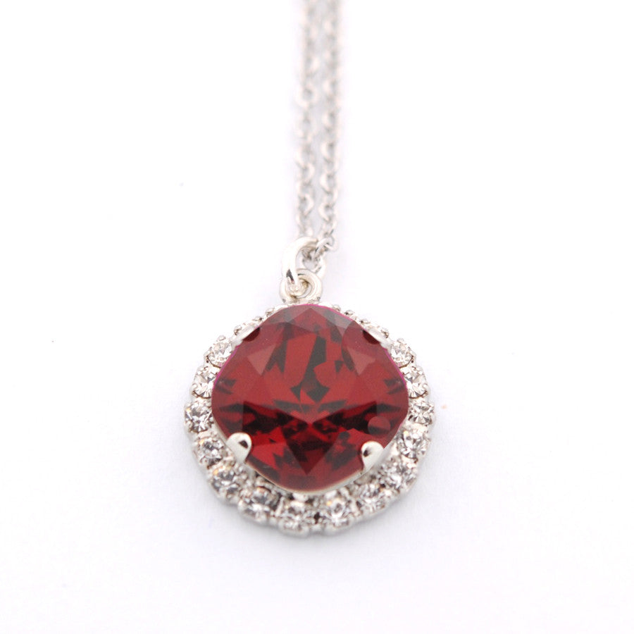 Embellished cushion cut pendant