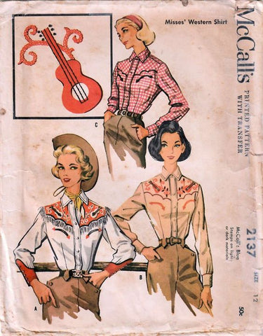 Clothing Patterns illustrations by McCall's 2137; ©1957; Misses' Western Shirt. Applique Embroidery Transfer.
