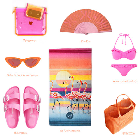 Coral / Pink flat lay with products from Birkenstock shoes, accessorise bikini and Khu Khu Hand Fan