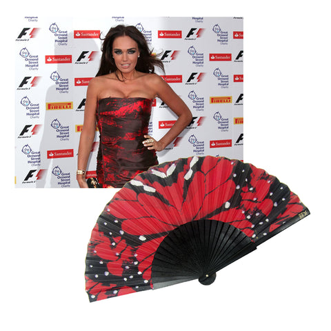 Tamara Eccleston and Red Papillon Fan at Grand Prix Event