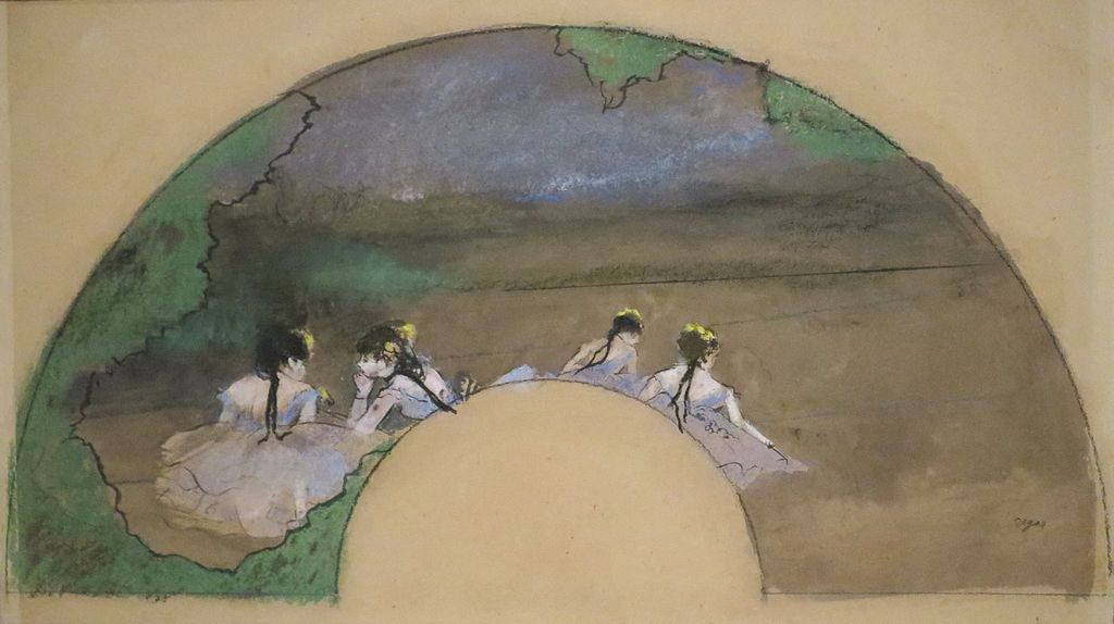 Hand Fan Leaf, Dancers on the Stage by Edgar Degas, c. 1879, pastel with ink and wash on paper, Norton Simon Museum