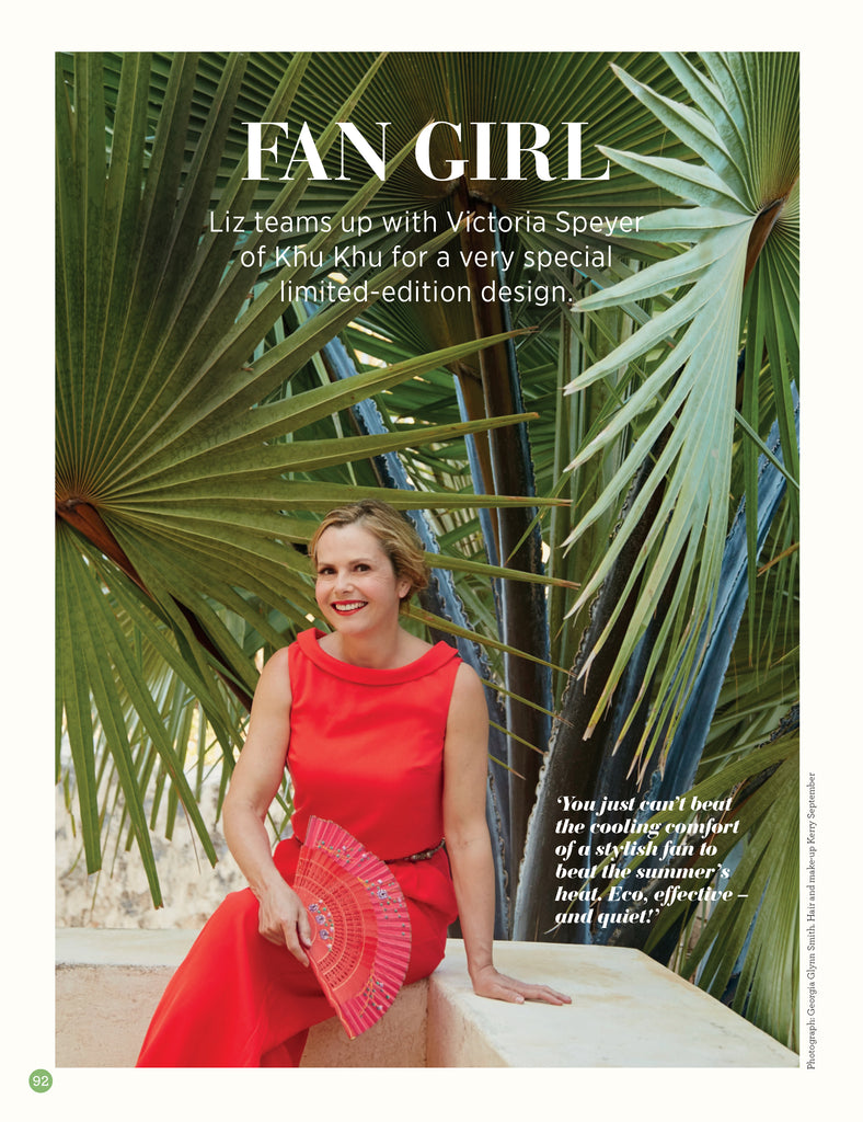 Liz Earle Wellbeing Article on Liz Earle X Khu Khu hand-fan collaboration. Image of Liz holding Spanish fan.