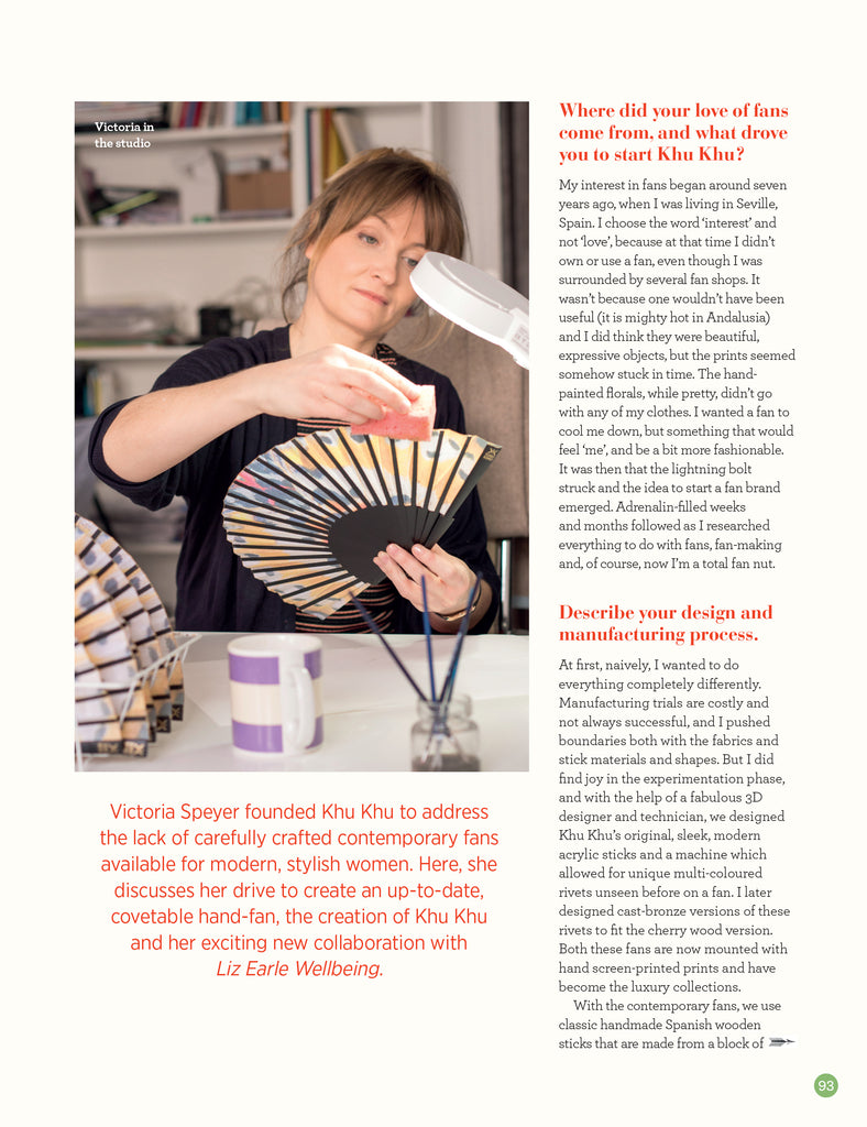 Liz Earle Wellbeing Article on Liz Earle X Khu Khu hand-fan collaboration. Image of Khu Khu owner Victoria painting rim of fan.
