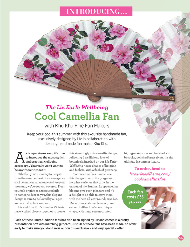 Liz Earle Wellbeing Article on Liz Earle X Khu Khu hand-fan collaboration. Image of the final Cool Camellias beautiful hand-fan, and where to buy it.
