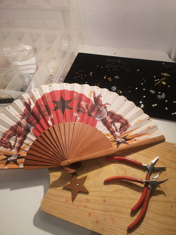 Detailing for the Khu Khu Rodeo Riders Hand-Fan