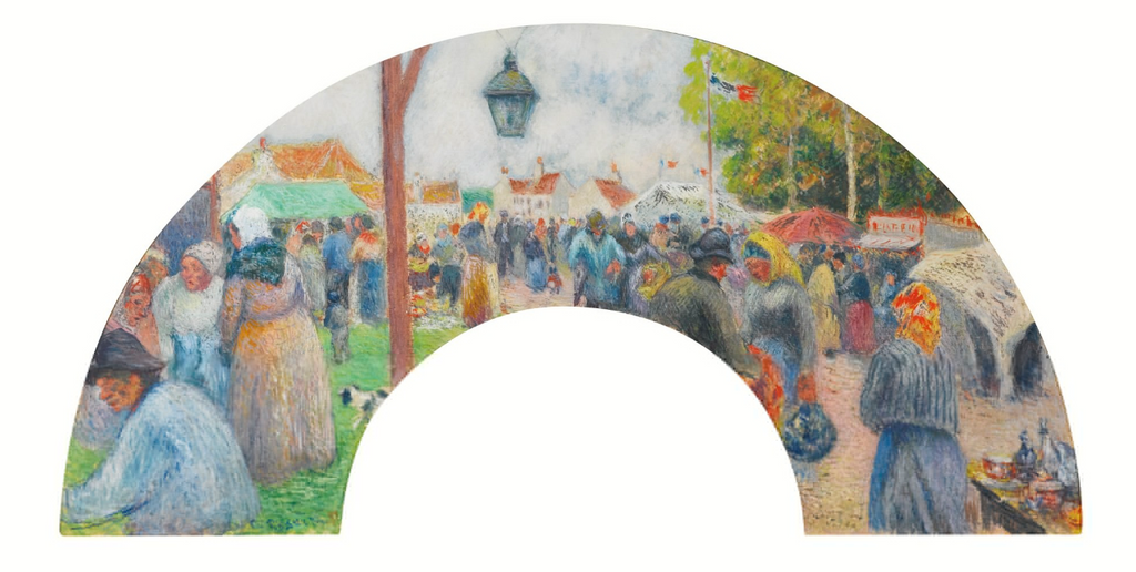Camille Pissarro 1830 - 1903 HAND-FAN LEAF / ÉVENTAIL: FOIRE DE LA SAINT-MARTIN, PONTOISE Signed C. Pissarro and dated 81