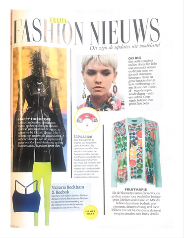 Grazia NL Fashion News with image of the Khu Khu Texan Star hand-fan