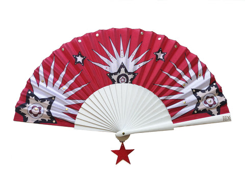 Texan Star Hand-Fan KHU KHU SS2020 Red and White star with rhinestones and hanging leather pendant