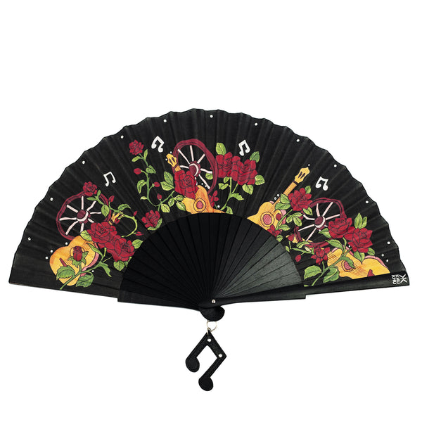 Khu Khu hand-fan with roses, guitars and rhinestones for Wild is the Wind Collection 2020