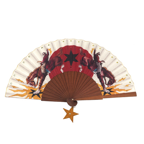 Khu Khu Rodeo Riders Hand-fan with hand finished swarovski crystals and hanging star pendant