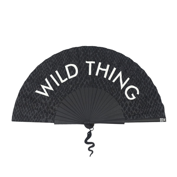 Khu Khu Wild Thing Statement hand-fan with snake print background and hanging leather pendant