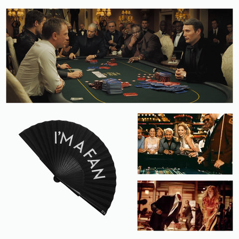 Khu Khu I´m A Fan Hand-fan with images of films Casino Royale, Casino and Kill Bill