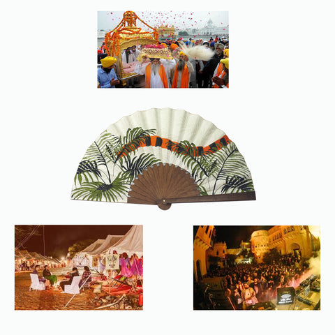 Khu Khu Indian Tiger Tail Hand-Fan with images of The Magnetic Fields Festival in India