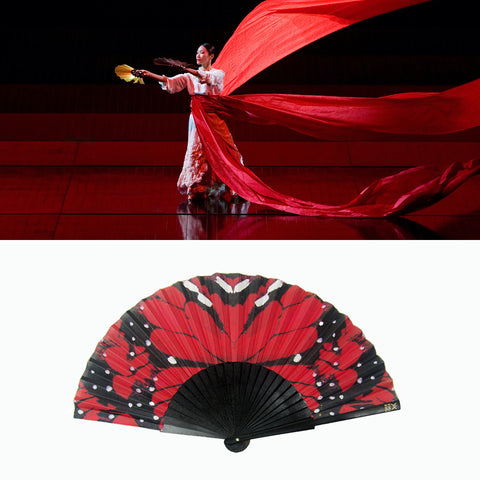 Khu Khu Red Papillon Hand-Fan and and image of the Metropolitan Opera House´s Madama Butterfly