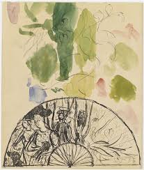 Hand-Fan project with characters among the trees by Pierre Bonnard (1867-1947)
