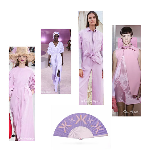 High Fashion Lilac on SS19 Catwalk and Khu Khu Lilac Letter Hand Fan