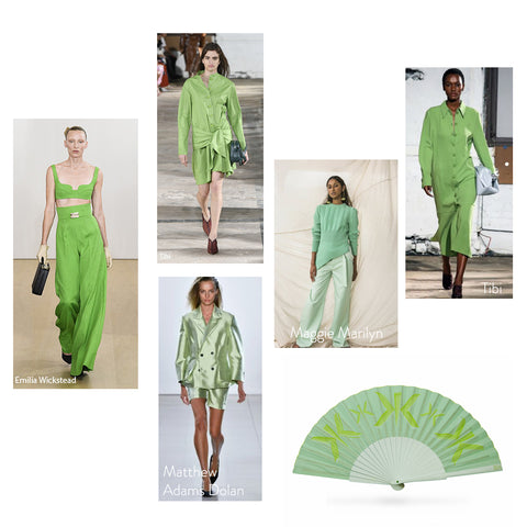 Mint and Other Greens on catwalk SS/2019 with Khu Khu MINT MARK hand fan