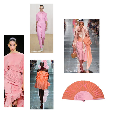 High Fashion Pink/ Coral on the SS19 catwalk and a Khu Khu Signature Sunset Hand-fan