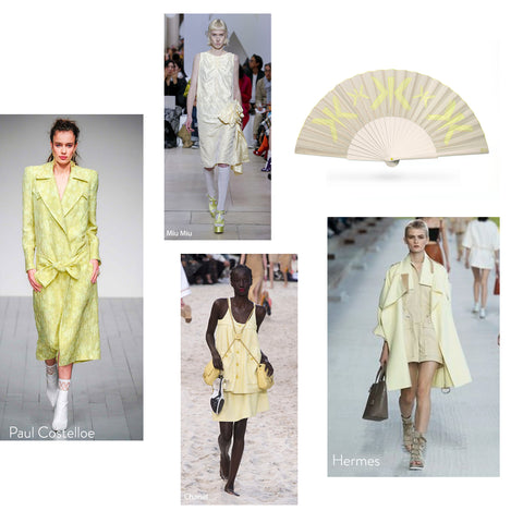 High Fashion Yellow on Catwalk from different designers and Khu Khu HELLO YELLOW hand fan