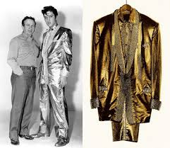 Gold Lame Suit Elvis Presley and Nudie Cohn