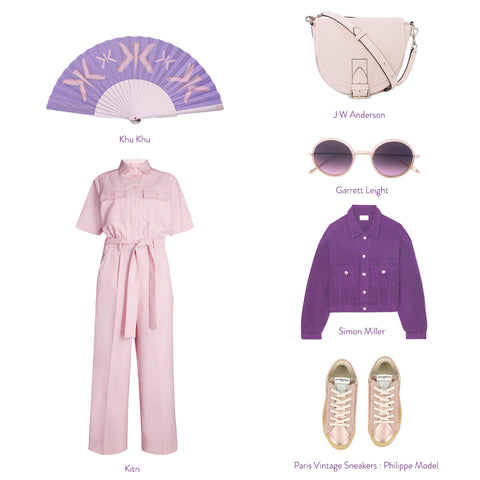 Flat lay with lilac and pink products including Khu Khu Lilac letter hand fan and J W anderson handbag