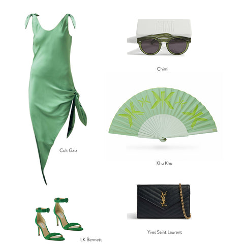 Green Flat lay with products from LK BENNETT, Saint Laurent bag and Khu Khu hand fan