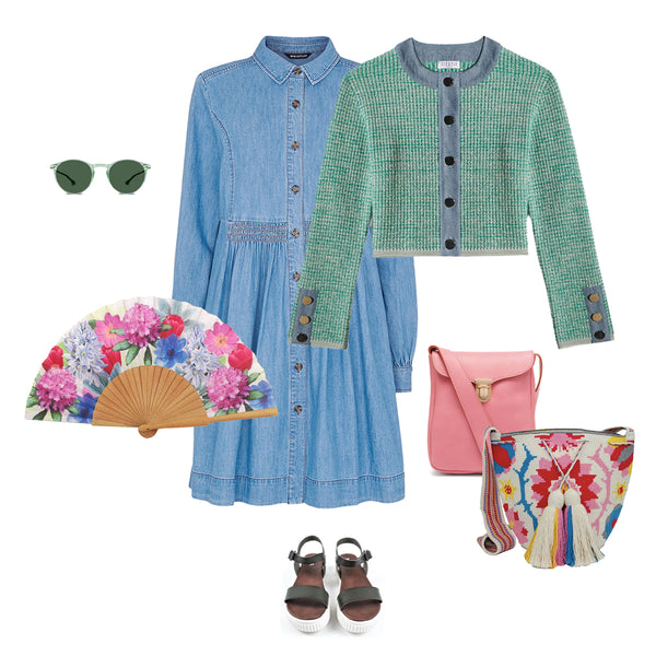 Khu Khu Spring Hand-Fan style up board with clothes and accessories from a range of brands (listed in text)