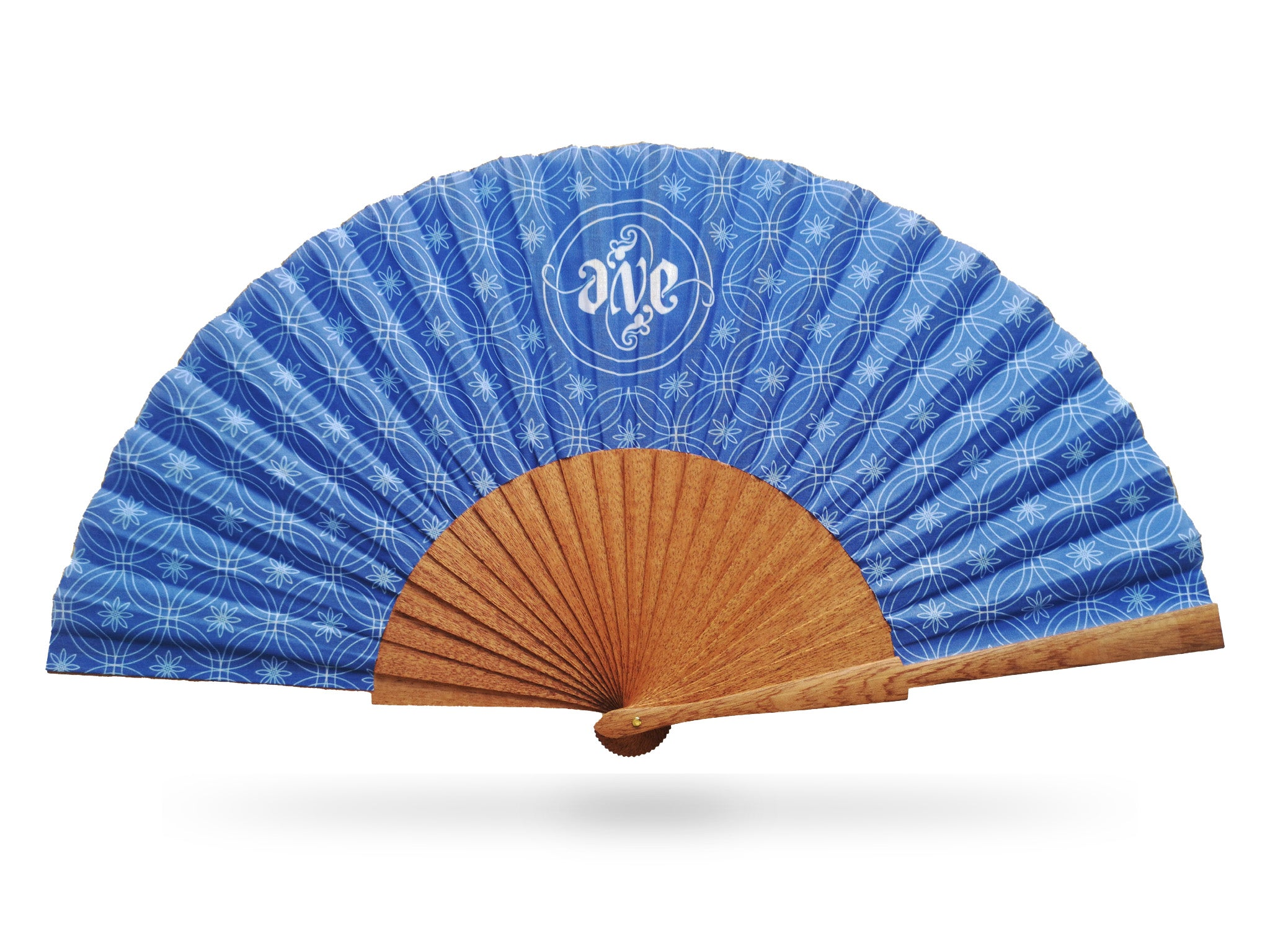 Khu Khu Private Commission Hand-Fan example - Blue and White print with natural sipo wood