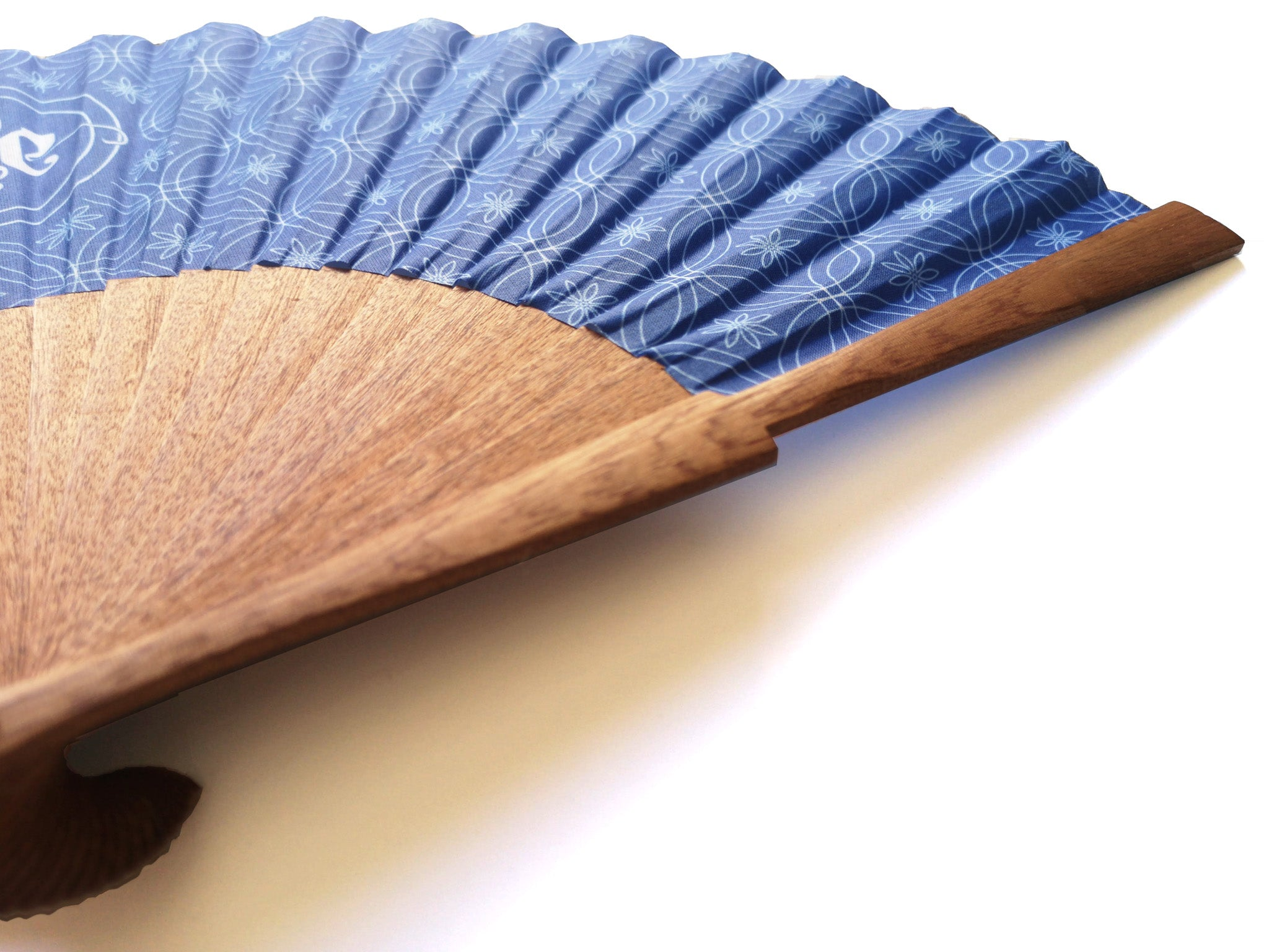 Khu Khu Hand-Fan, Private Commission Example -Blue and White Pattern with client middle in centre mounted with natural sipo wood sticks