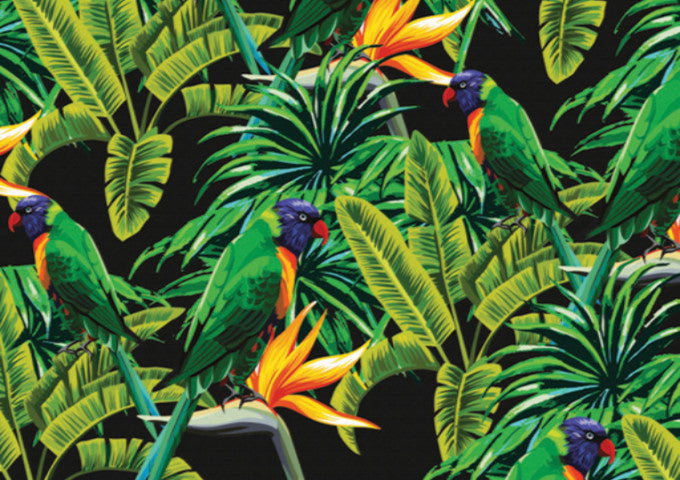 Close up of Khu Khu tropical Green Parakeet hand-fan print. Beautiful green birds perch amongst tropical leaves and orange passion flowers.