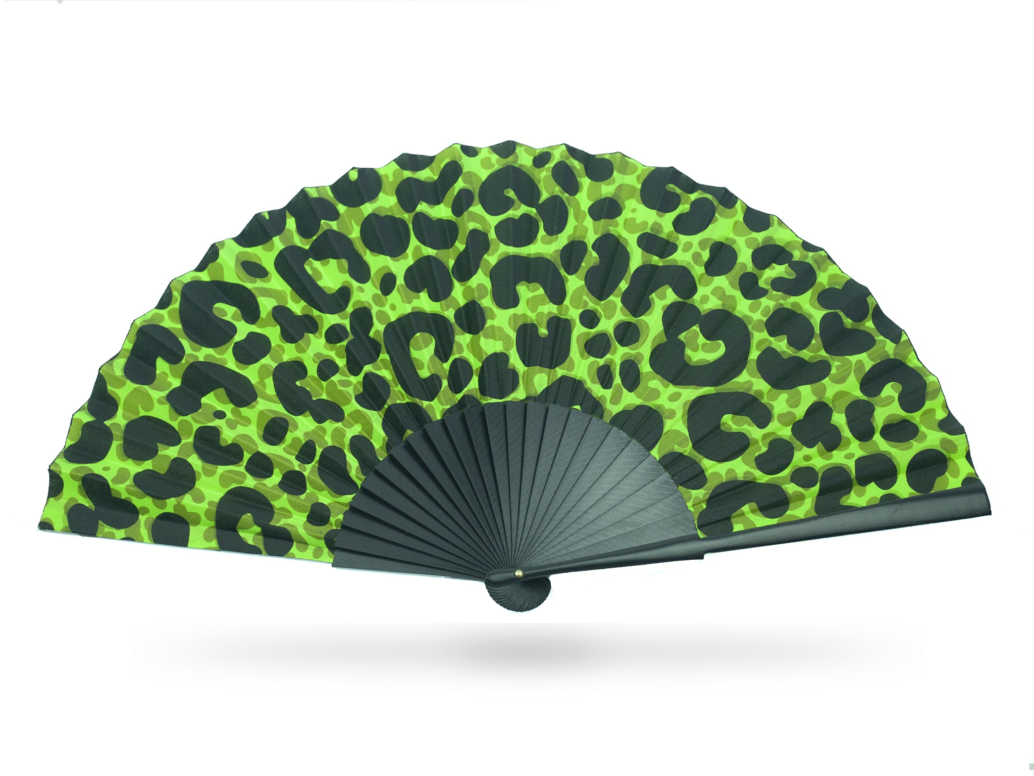 Khu Khu commission hand-fan for girl band Little Mix. Modern leopard print on neon green cotton mounted with 27cm long black wooden sticks.
