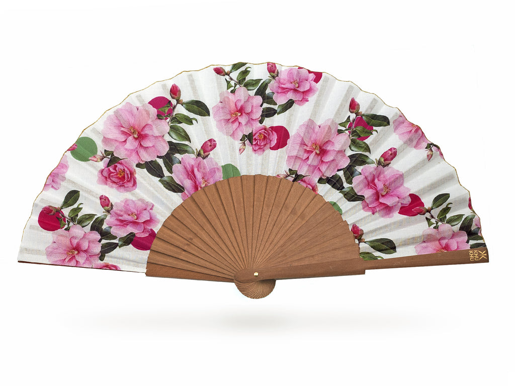 Khu Khu Beautiful Cool Camellias Hand-Fan with Liz Earle collaboration print.  Floral print with pink and green spots and camellias mounted with polished pear wood
