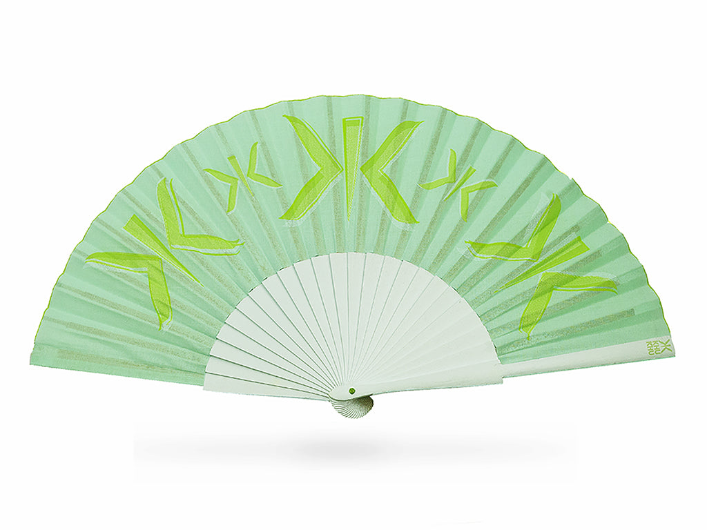 Khu Khu Mint Mark Hand-Fan with layered screen-prints of the Khu Khu logo in mint, lime and garden green. Cotton fabric and pale mint sticks with green logo/rivet and rim.