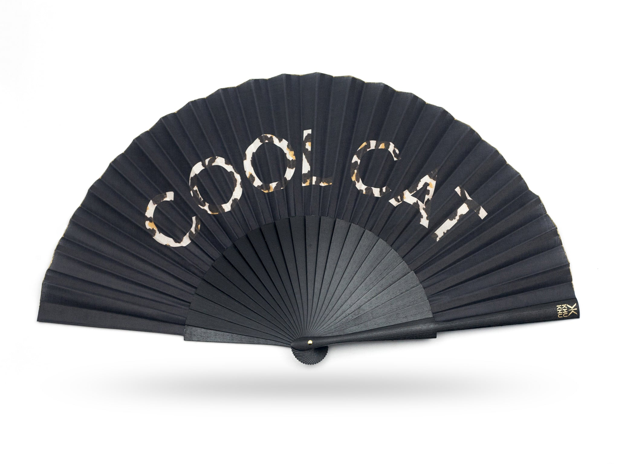 KHU KHU COOL CAT STATEMENT hand-fan with the words cool cat filled with leopard print on a black background. mounted with black wooden sticks and high grade cotton.