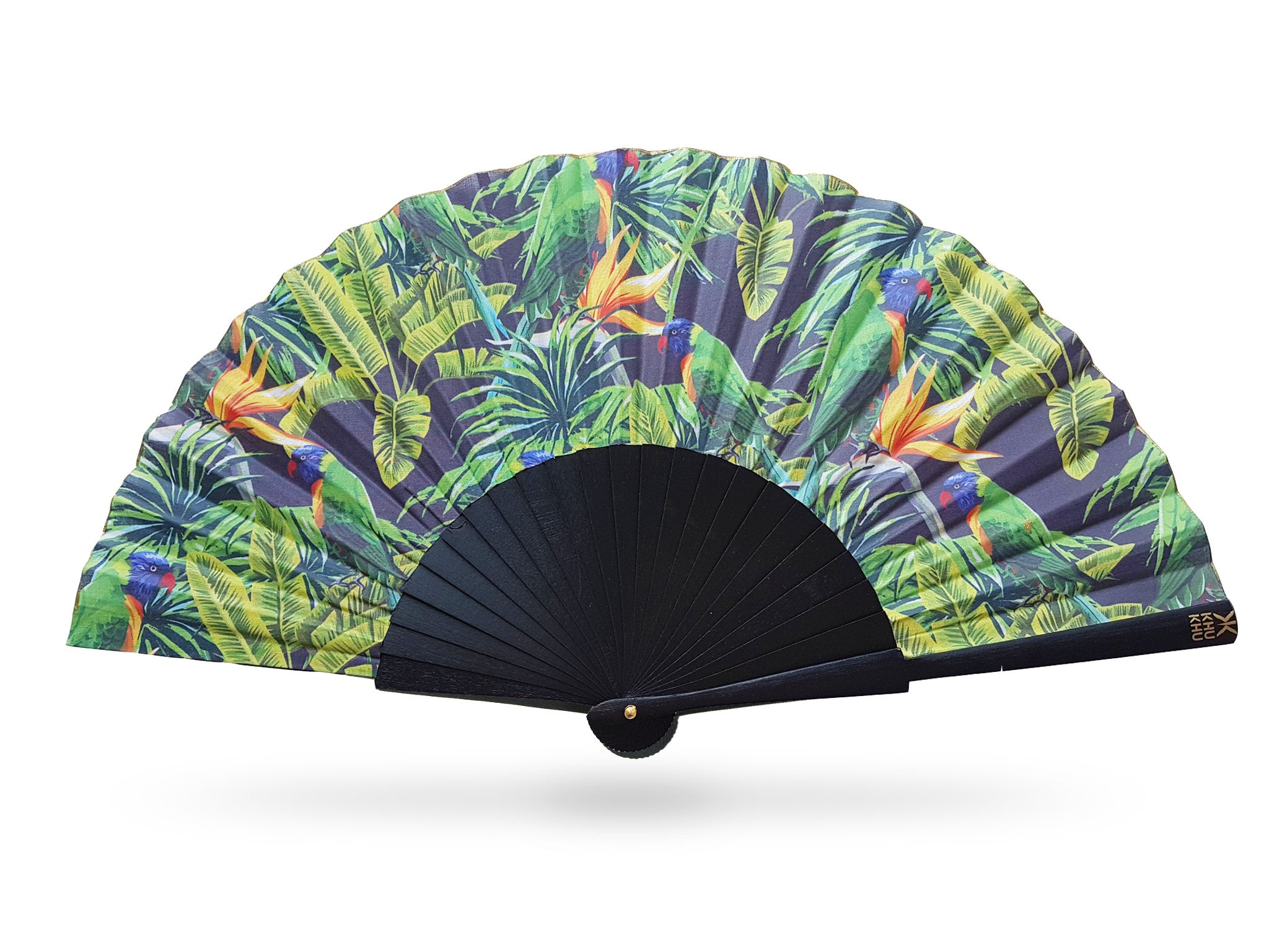 Khu Khu tropical Green Parakeet hand-fan. Beautiful green birds perch amongst tropical leaves and orange passion flowers. Fan mounted with black painted wood sticks and mounted with high grade cotton.