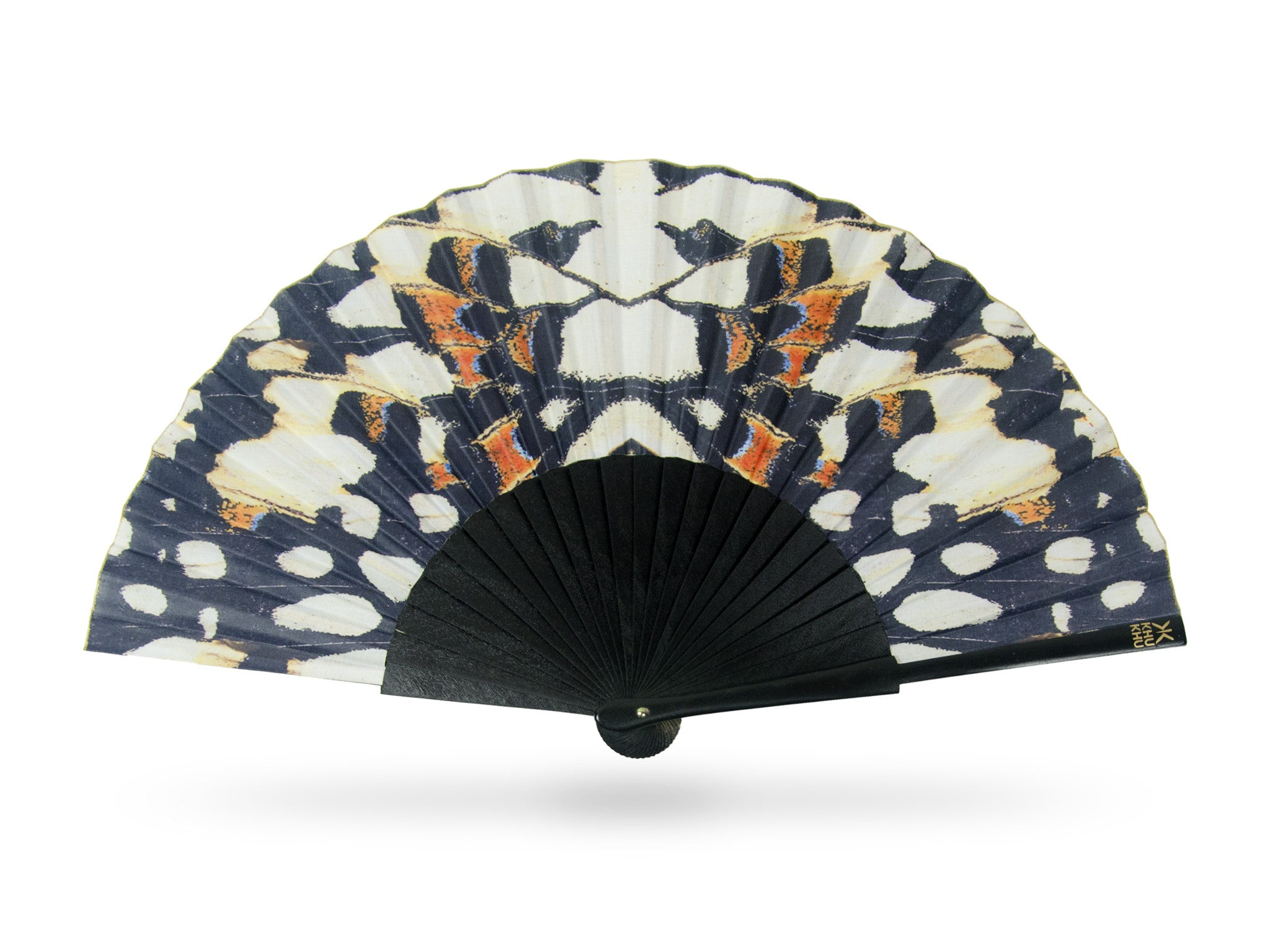 Khu Khu Black Nymph Beautiful Symmetrical Butterfly Print Hand-Fan with black sticks in black, off white and hints of blue and burnt orange.